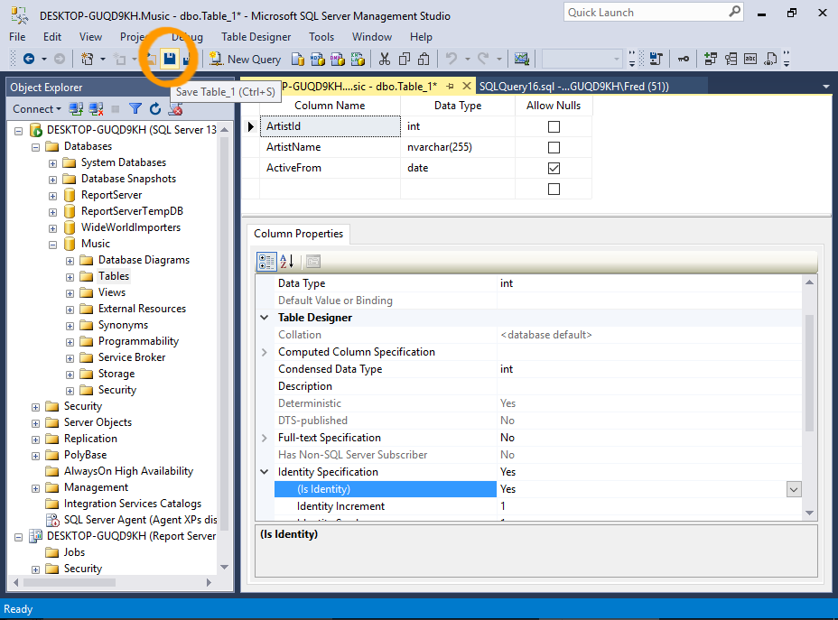 Screenshot of saving a table in SSMS.