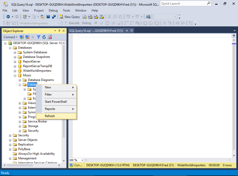 Screenshot of refreshing the Tables node in SSMS.
