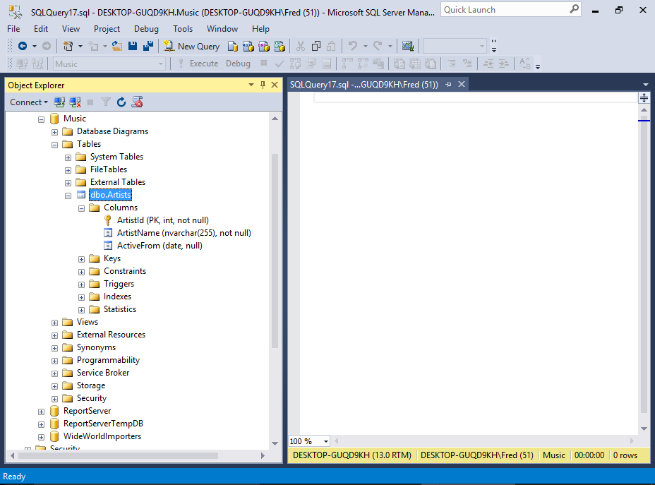 Screenshot of the table in SSMS.