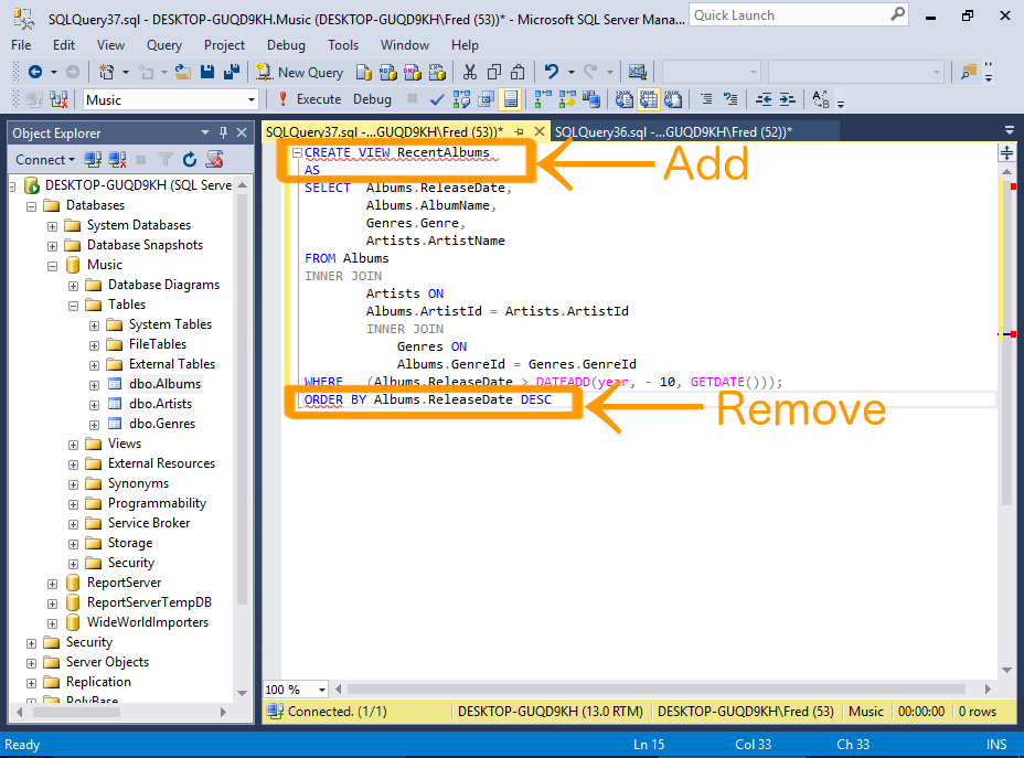 Sql server 2016 create a view for Sql table design query