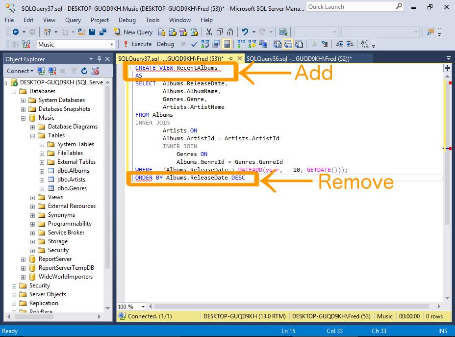SQL Server 2016: Create a View