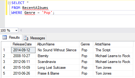 Screenshot of creating a view in SQL Server.