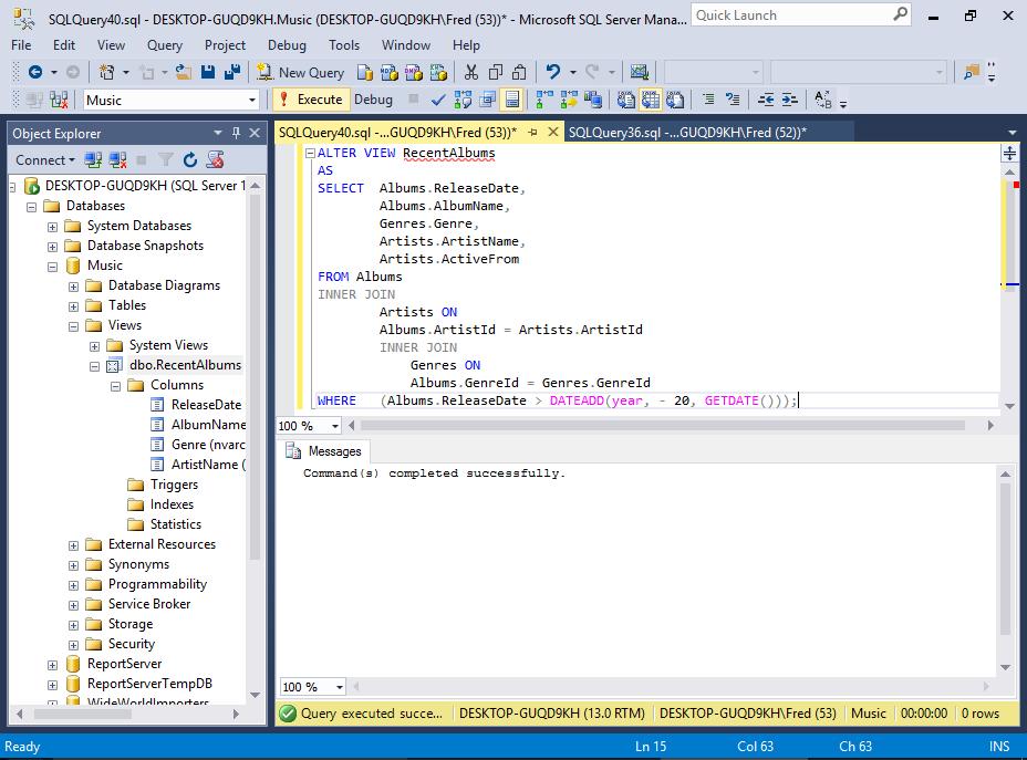 Sql server 2016 create a view for Sql server table design query