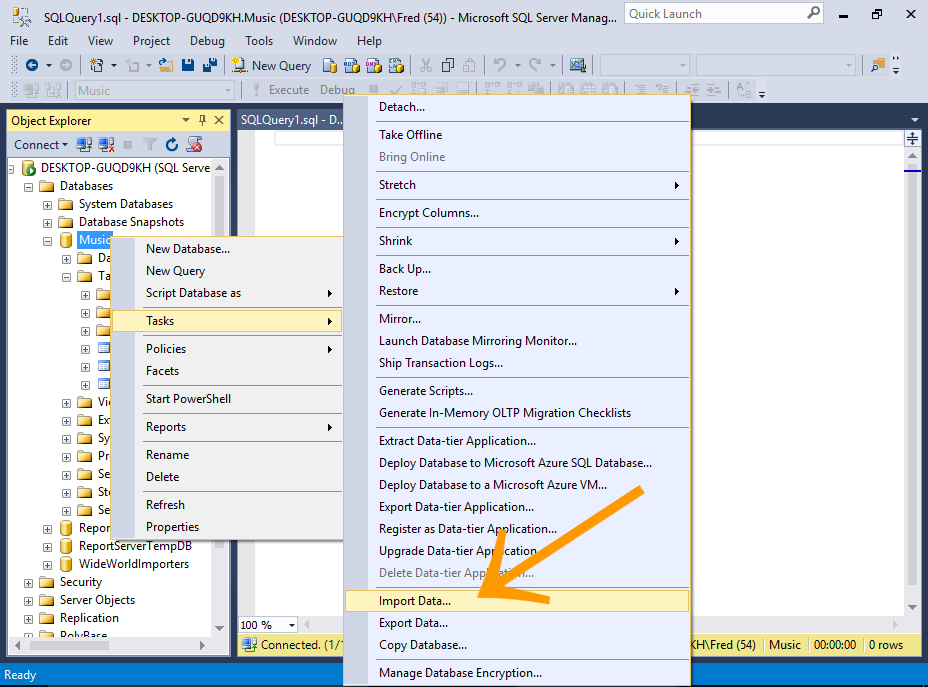 Screenshot of importing data into a table via the SSMS GUI.