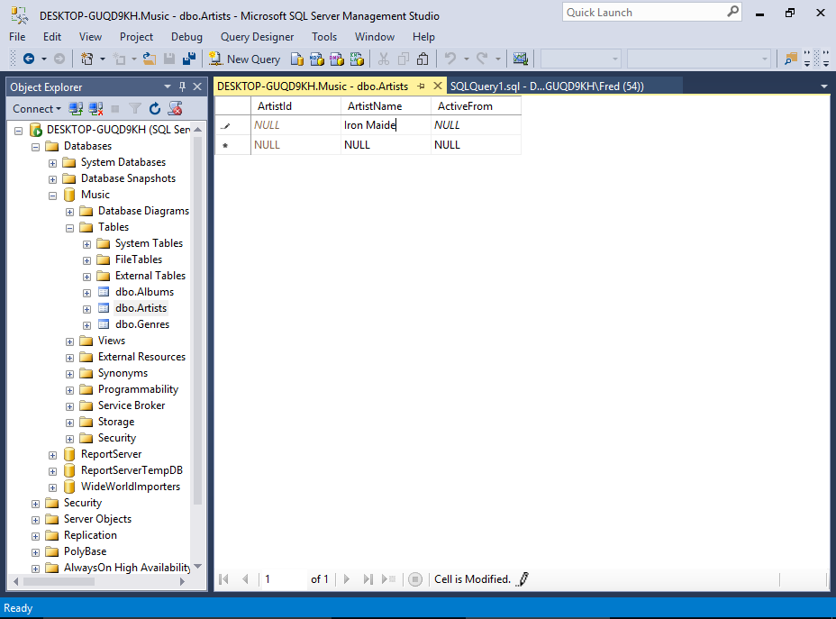 Screenshot of inserting data directly into a table via the SSMS GUI.