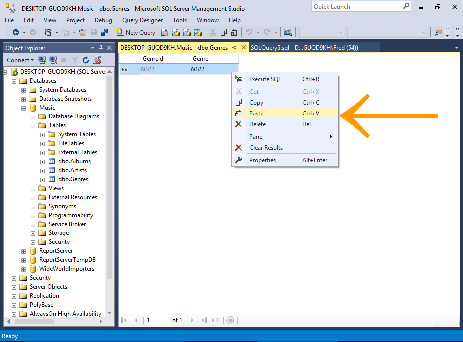Screenshot of copy/pasting data into a table via the SSMS GUI.