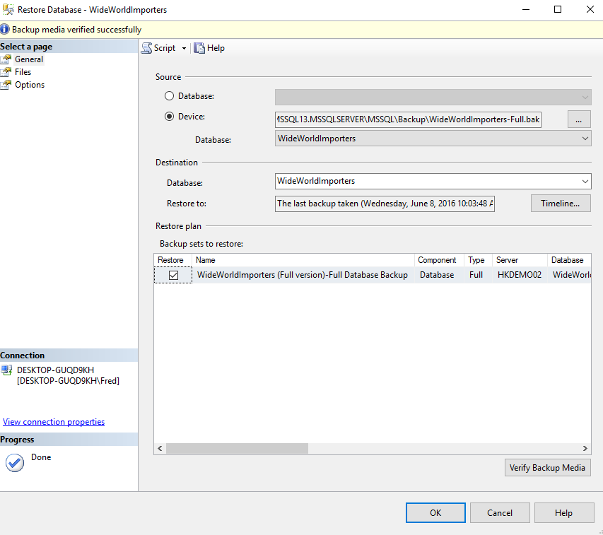 Screenshot of restoring up a database in SQL Server 2016.