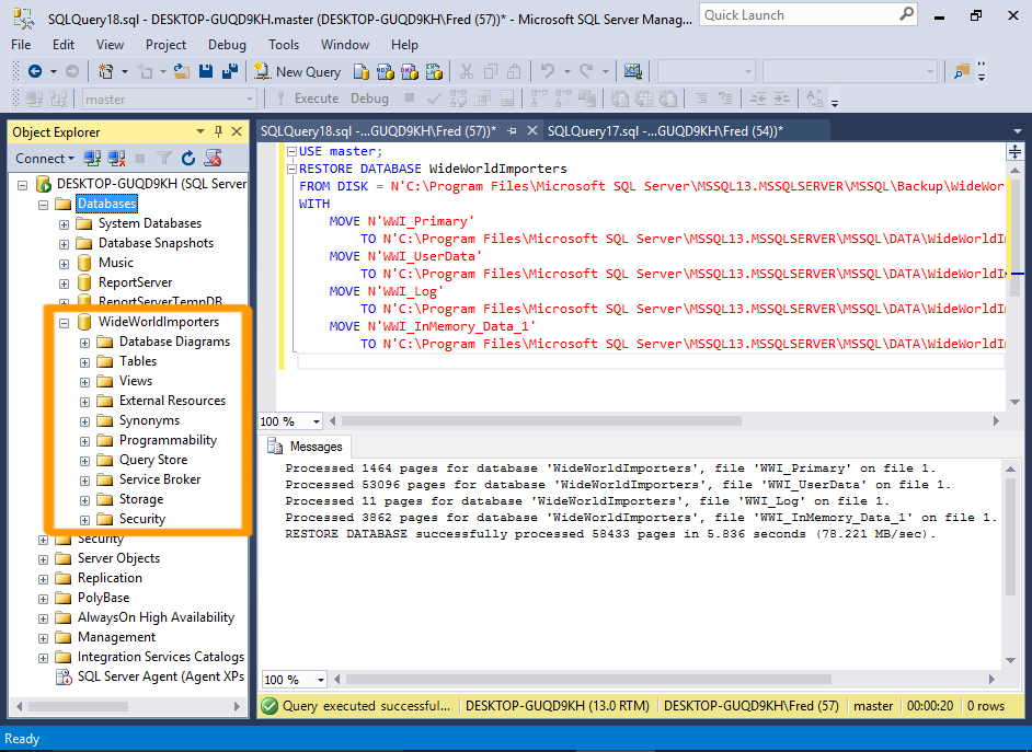 Screenshot of restoring up a database using SQL.