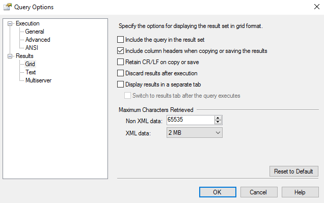 Screenshot of the Query Options dialog box.