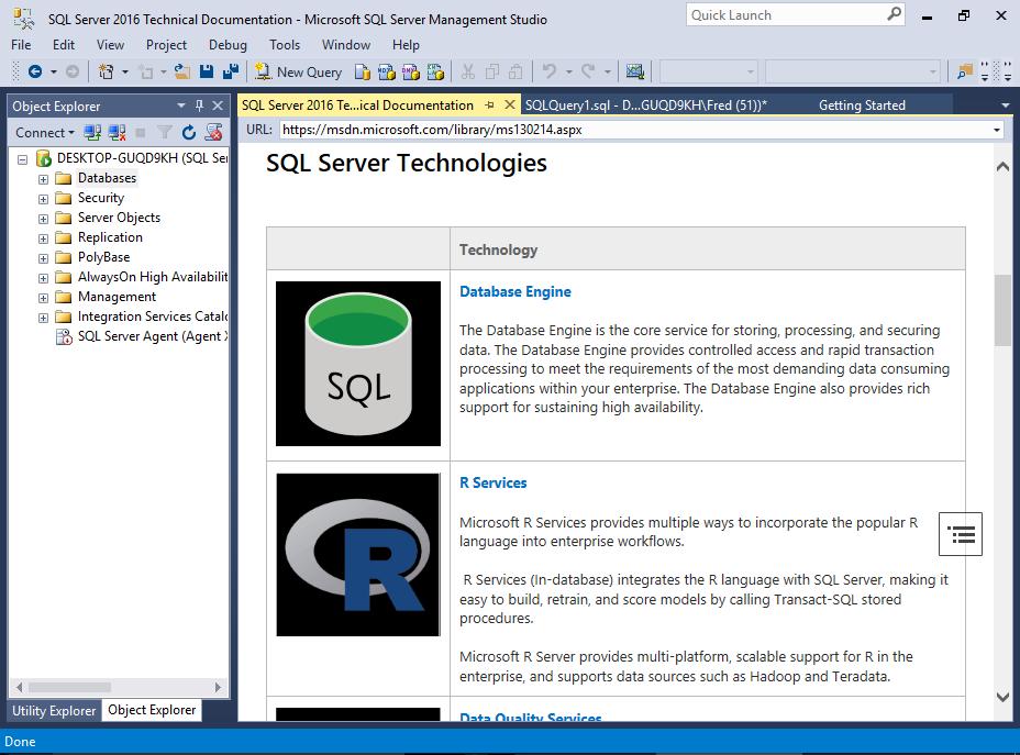 Screenshot of SQL Server Management Studio.