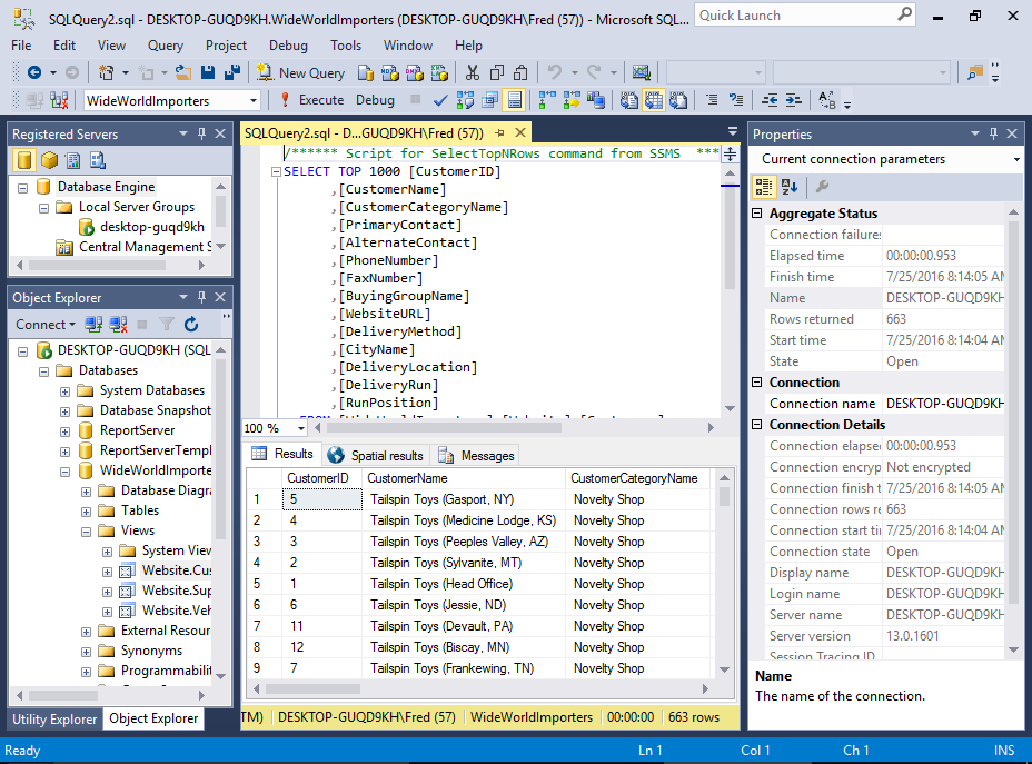 Screenshot of SSMS.
