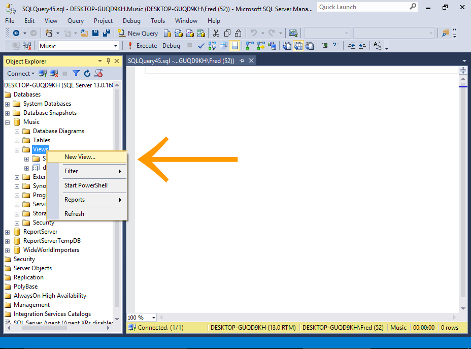 Screenshot of accessing the View Designer in SQL Server.