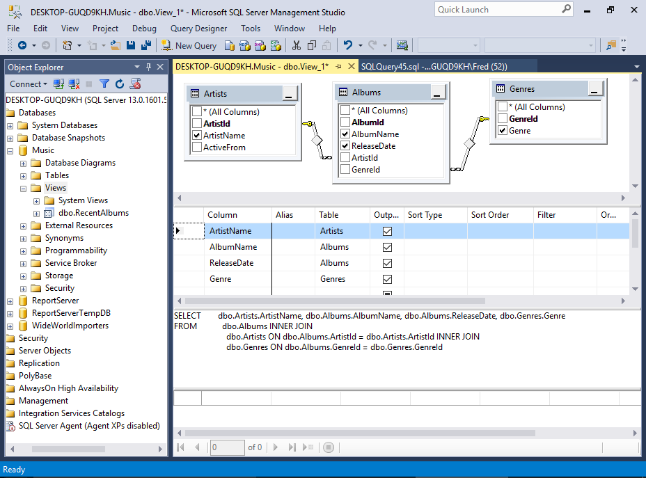Sql server 2016 view designer for Sql table design query