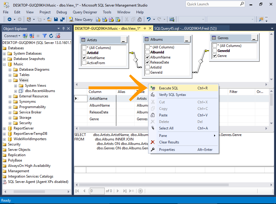 Screenshot of the View Designer in SQL Server.